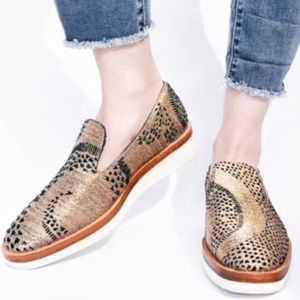 Free People Snake Eyes Gold Loafers